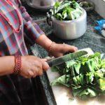 Preparing Yam leaves for Gaba