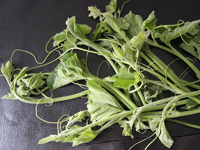 Pumpkin leaves and stems also make a delicious spinach