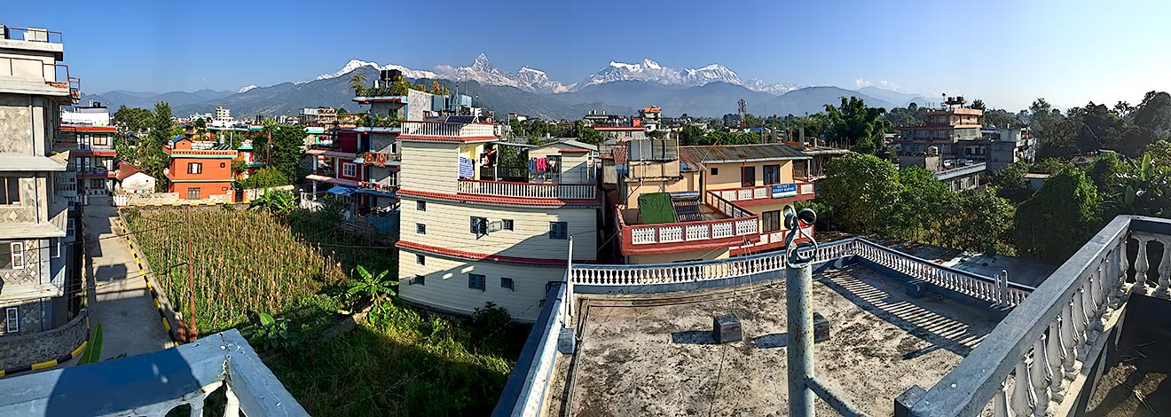 Panoramic view of Annapurna Himalayas from our rooftop yoga shala