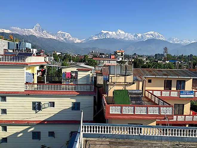 View of Annapurna Himalayas from our rooftop yoga shala